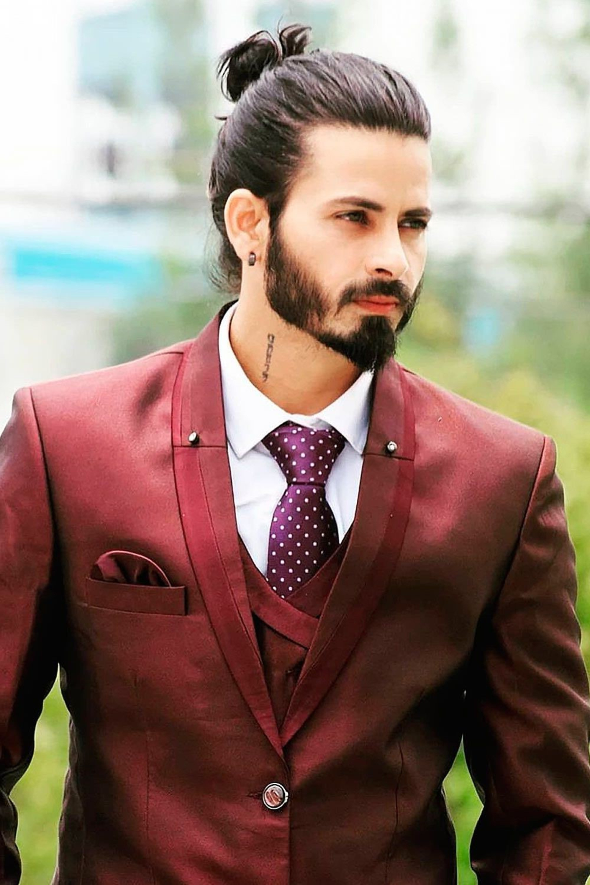 A Man Bun cool hairstyle for handsome men.