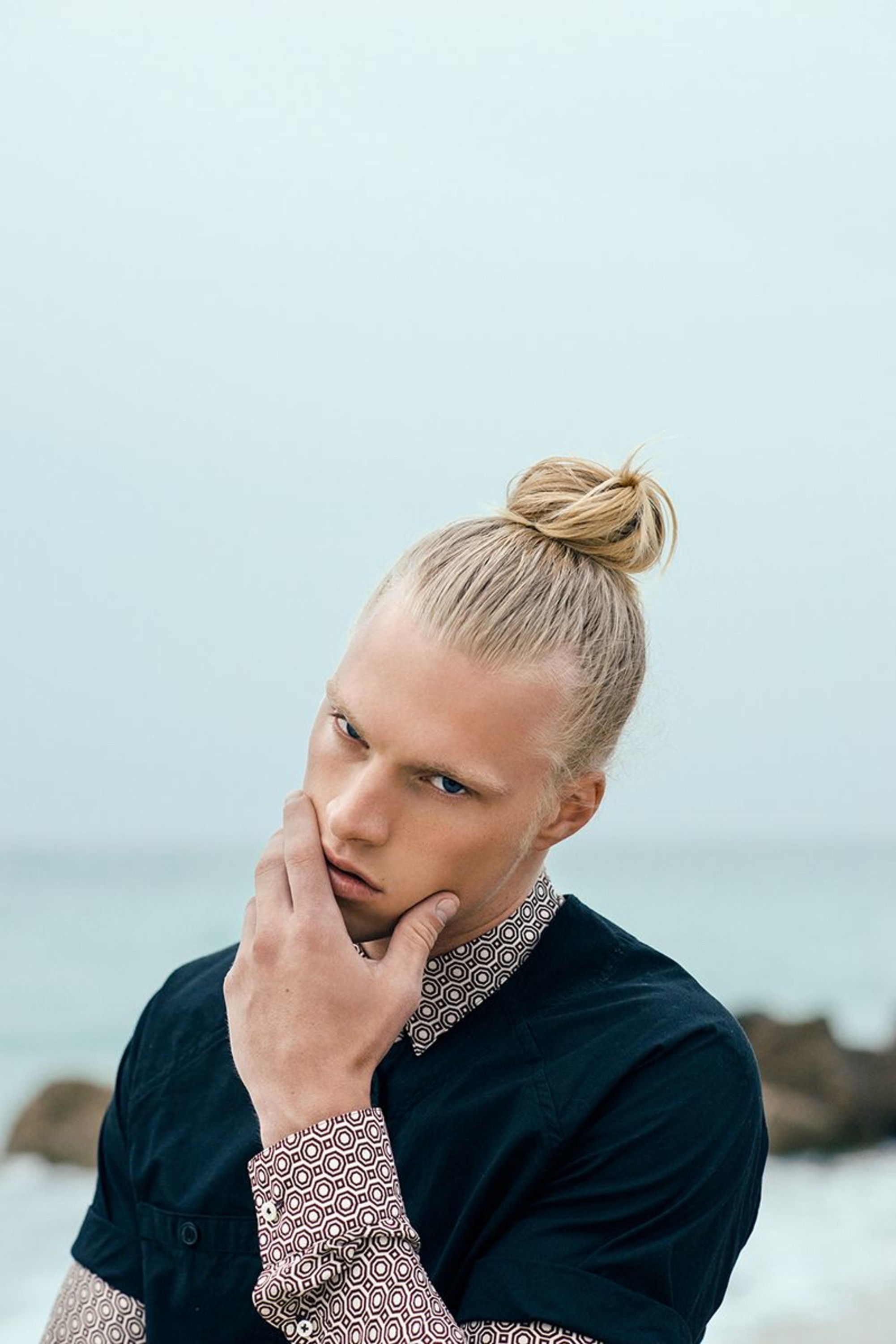 A bun hairstyle for blonde males.
