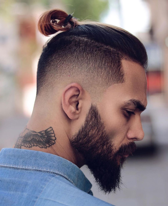 A drop faded male bun style.