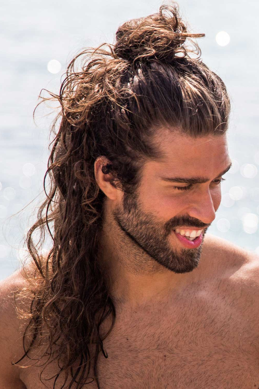A bun hairstyle for Hawaiian men.