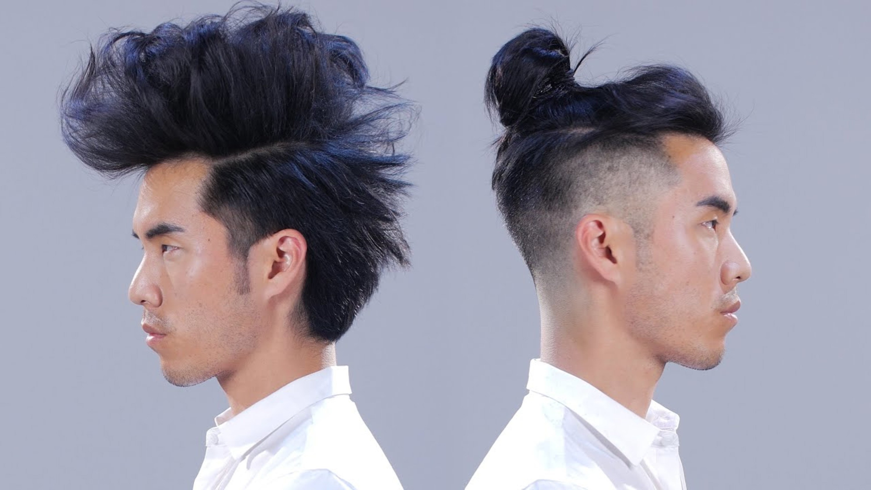 A Mohawk male hairstyle with a nice bun.