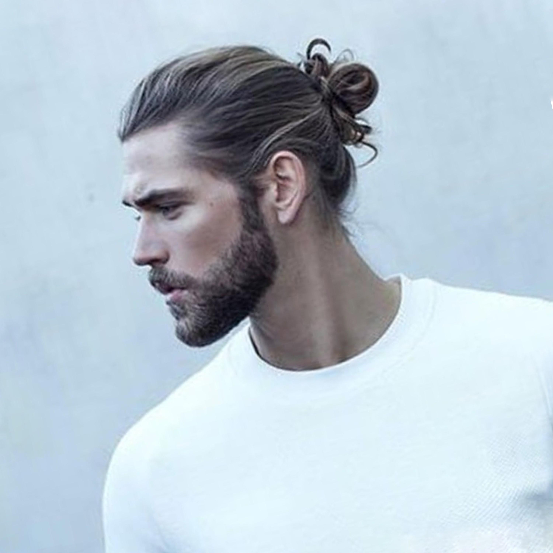 A sexy bun style for men.