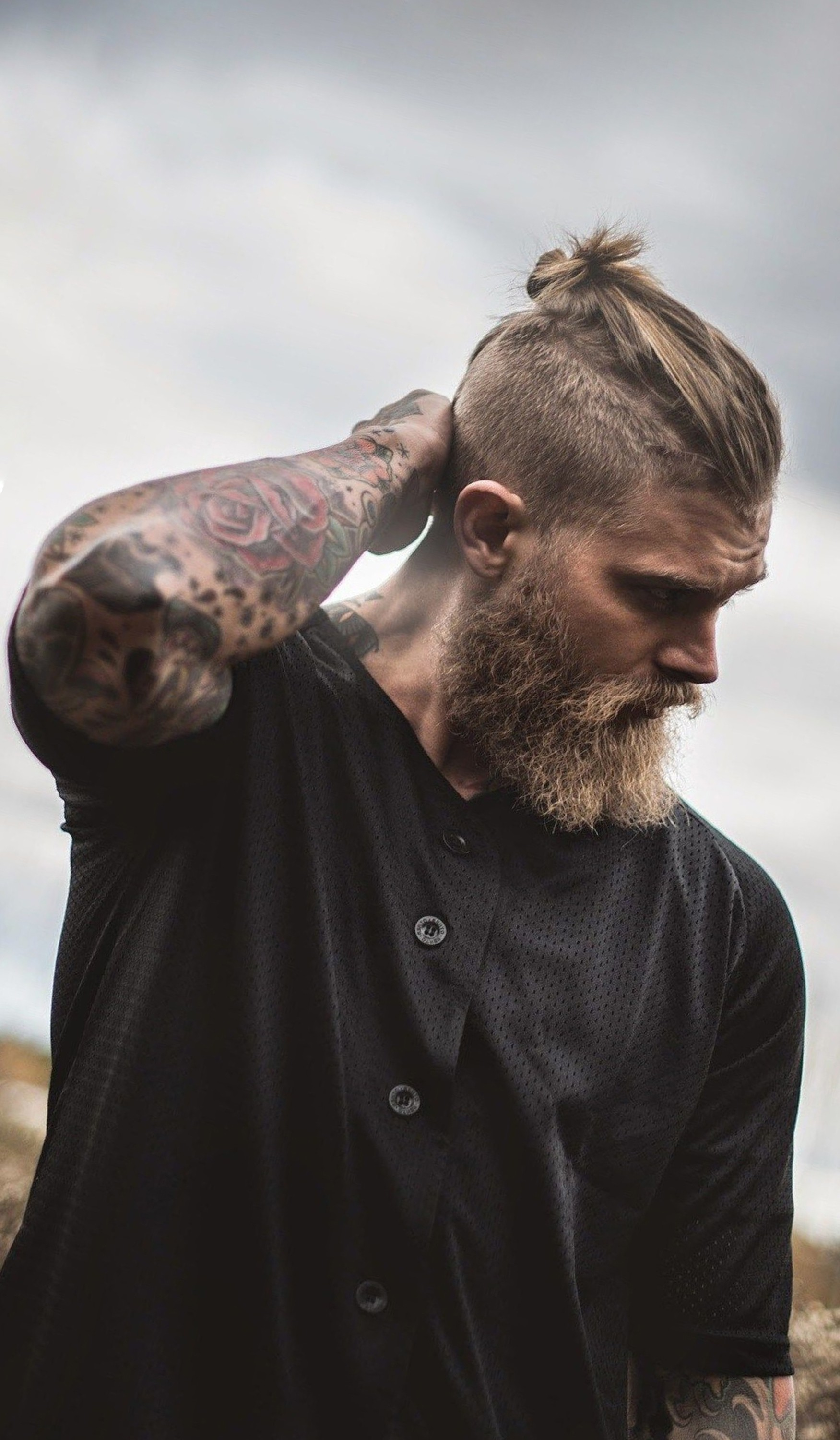 A male bun in the Viking style.